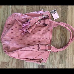 Pink laser cut handbag